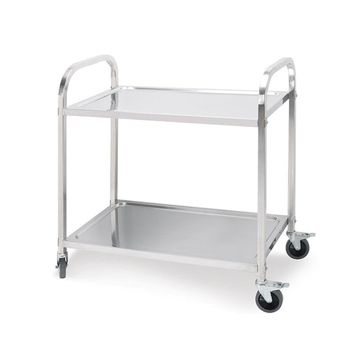 SOGA Stainless Steel Kitchen Trolley Cart 2 Tiers Dining Food Utility 85*45*90 Medium