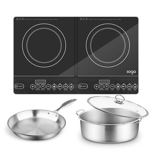SOGA Dual Burners Cooktop Stove 30cm Stainless Steel Induction Casserole and 30cm Fry Pan