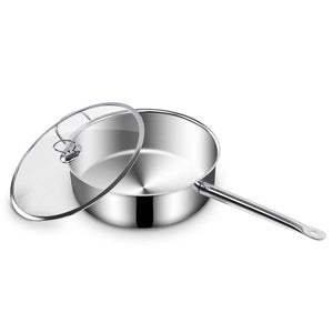 SOGA Stainless Steel Saucepan With Lid Induction Cookware With Triple Ply Base 26cm