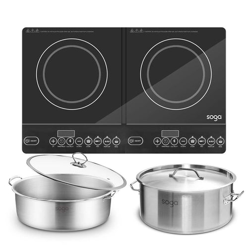 SOGA Dual Burners Cooktop Stove 14L Stainless Steel Stockpot and 28cm Induction Casserole