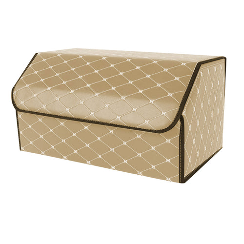 SOGA Leather Car Boot Collapsible Foldable Trunk Cargo Organizer Portable Storage Box Beige/Gold Stitch Large