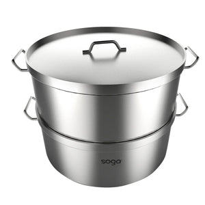 SOGA Commercial 304 Stainless Steel Steamer With 2 Tiers Top Food Grade 28*18cm