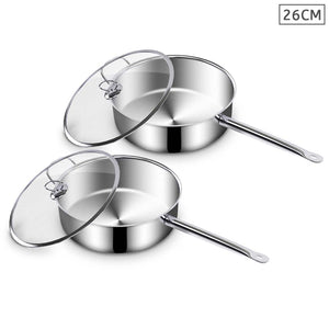 SOGA 2X 26cm Stainless Steel Saucepan With Lid Induction Cookware With Triple Ply Base