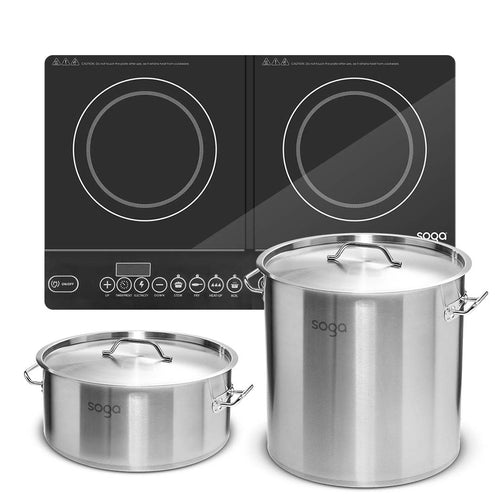 SOGA Dual Burners Cooktop Stove 21L and 17L Stainless Steel Stockpot Top Grade Stock Pot