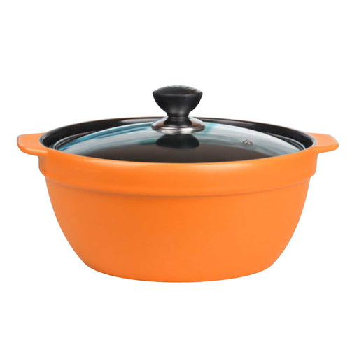 3.5L Ceramic Casserole Stew Cooking Pot with Glass Lid Orange