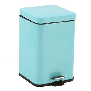 SOGA Foot Pedal Stainless Steel Rubbish Recycling Garbage Waste Trash Bin Square 6L Blue