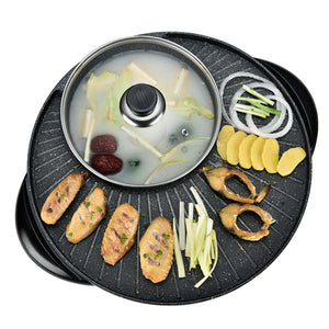 SOGA 2 in 1 Electric Stone Coated Teppanyaki Grill Plate Steamboat Hotpot 3-5 Person