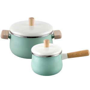 22cm Enamel Milk Pot Ceramic Saucepan with Lid Stockpot Set Blue