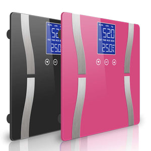 SOGA 2 x Digital Body Fat Scale Bathroom Scale Weight Gym Glass Water LCD Black/Pink
