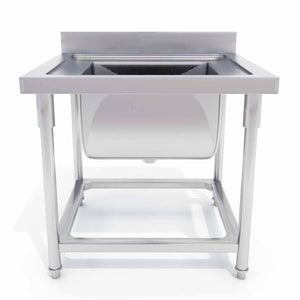 SOGA Commercial Kitchen Sink Work Bench Stainless Steel Food Prep 70*70*85cm