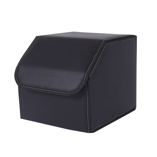 SOGA Leather Car Boot Collapsible Foldable Trunk Cargo Organizer Portable Storage Box Black Small