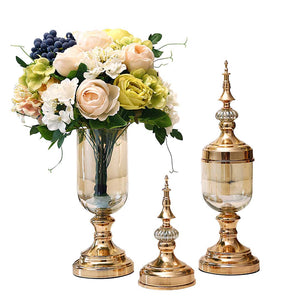 SOGA 2 x Clear Glass Flower Vase with Lid and White Flower Filler Vase Gold Set