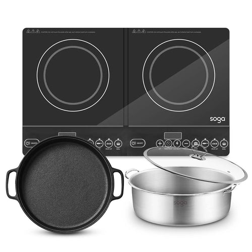 SOGA Dual Burners Cooktop Stove 30cm Cast Iron Frying Pan Skillet and 30cm Induction Casserole