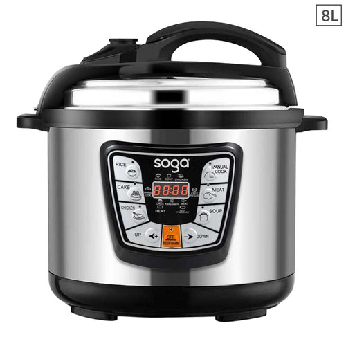 SOGA Stainless Steel Electric Pressure Cooker 8L Nonstick 1600W