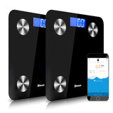 SOGA 2x 180KG Bluetooth Digital Personal Bathroom Weight Scales Body Fat Bone BMI Water Black
