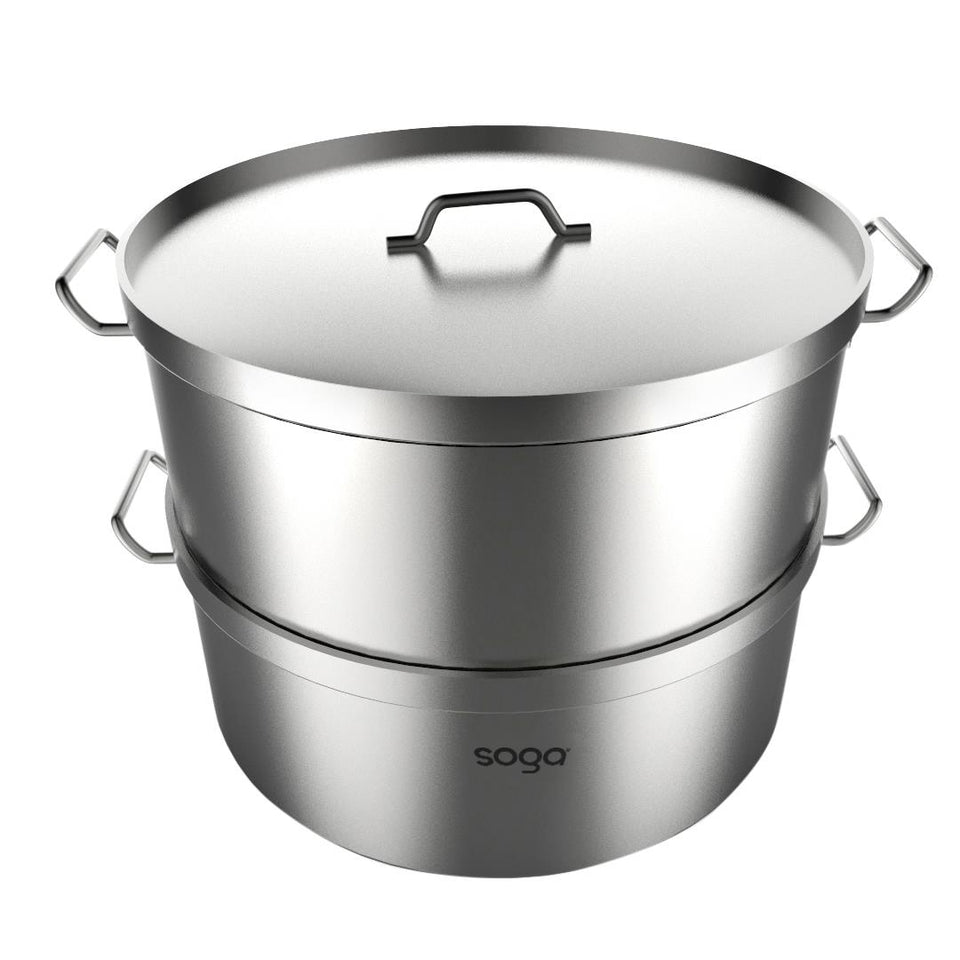 SOGA Commercial 304 Stainless Steel Steamer With 2 Tiers Top Food Grade 40*26cm