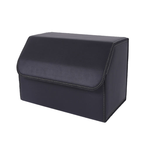 SOGA Leather Car Boot Collapsible Foldable Trunk Cargo Organizer Portable Storage Box Black Medium