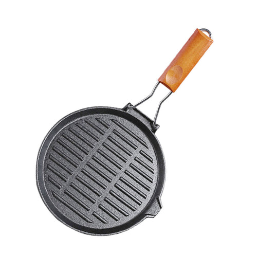 SOGA 24cm Round Ribbed Cast Iron Steak Frying Grill Skillet Pan with Folding Wooden Handle