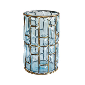 SOGA Blue Colored European Glass Cylinder Flower Vase with Gold Metal Pattern
