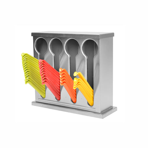 SOGA Stainless Steel Buffet Restaurant Spoon Utensil Holder Storage Rack 4 Holes