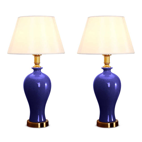 SOGA 2X Blue Ceramic Oval Table Lamp with Gold Metal Base