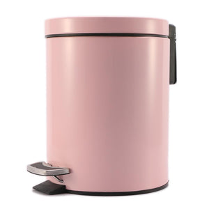 SOGA Foot Pedal Stainless Steel Rubbish Recycling Garbage Waste Trash Bin Round 7L Pink
