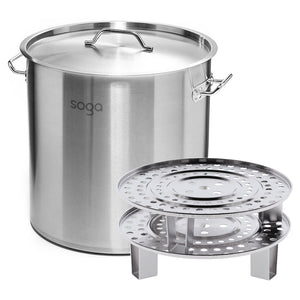 SOGA 50L Stainless Steel Stock Pot with Two Steamer Rack Insert Stockpot Tray
