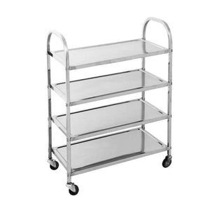 SOGA 4 Tier Stainless Steel Kitchen Dining Food Cart Trolley Utility 950x500x1220