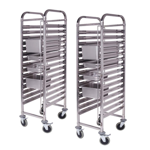 SOGA 2x Gastronorm Trolley 15 Tier Stainless Steel Bakery Trolley Suits GN 1/1 Pans