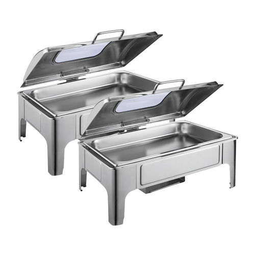 SOGA 2X 9L Rectangular Stainless Steel Soup Warmer Roll Top Chafer Chafing Dish Set with Glass Visual Window Lid
