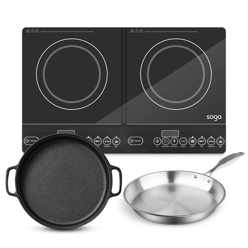 SOGA Dual Burners Cooktop Stove 30cm Cast Iron Frying Pan Skillet and 28cm Induction Fry Pan