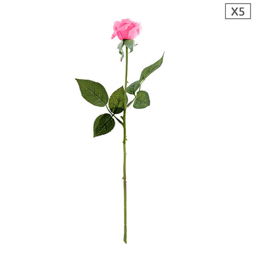 SOGA 5pcs Artificial Silk Flower Fake Rose Bouquet Table Decor Pink