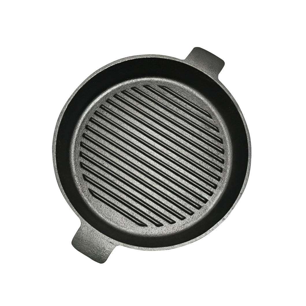 SOGA 26cm Round Ribbed Cast Iron Frying Pan Skillet Steak Sizzle Platter with Handle