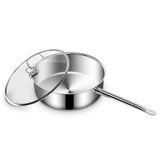 SOGA Stainless Steel Saucepan With Lid Induction Cookware With Triple Ply Base 32cm