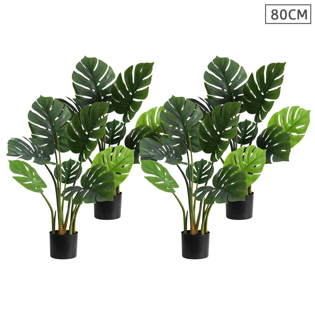 SOGA 4X 80cm Artificial Indoor Potted Turtle Back Fake Decoration Tree Flower Pot Plant