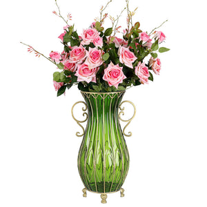 SOGA 51cm Green Glass Tall Floor Vase with 12pcs Pink Artificial Fake Flower Set