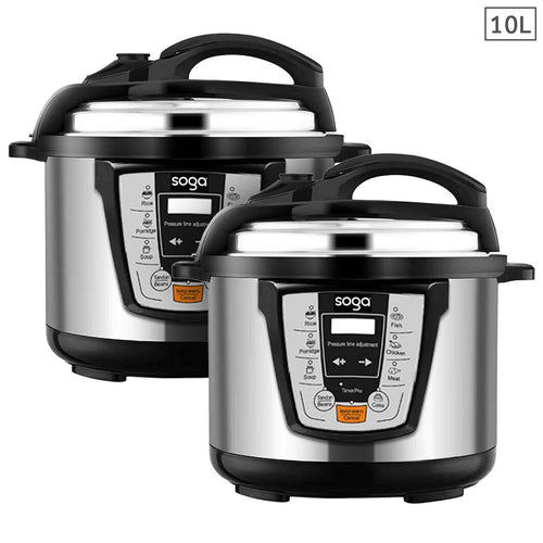 SOGA 2X Electric Stainless Steel Pressure Cooker 10L 1600W Multicooker 16