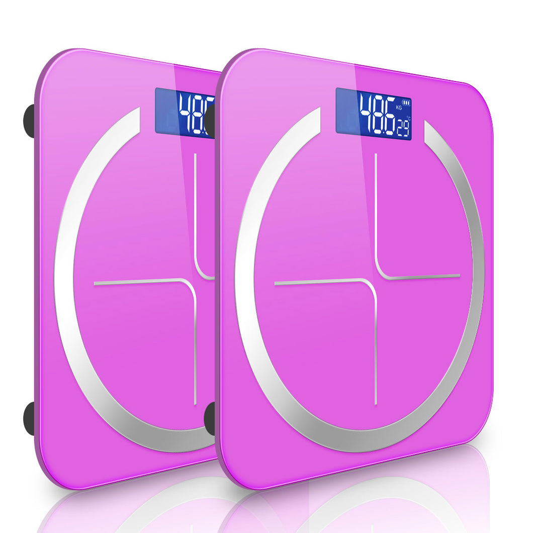 SOGA 2X 180kg Digital Fitness Weight Bathroom Body Glass LCD Electronic Scales Pink