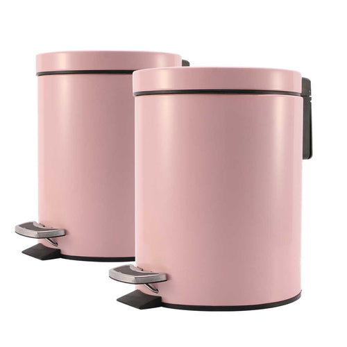 SOGA 2X Foot Pedal Stainless Steel Rubbish Recycling Garbage Waste Trash Bin Round 7L Pink
