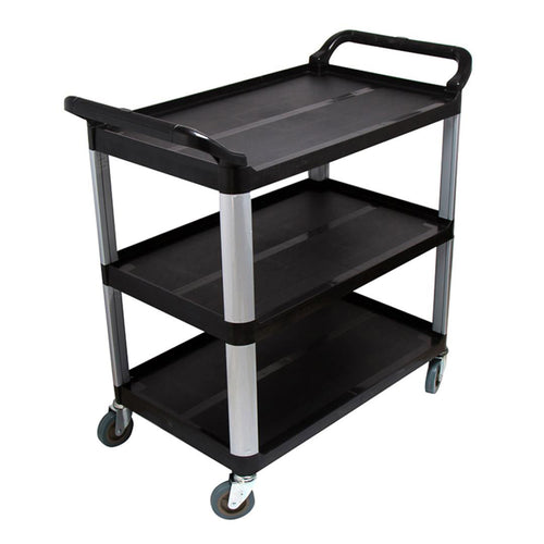 SOGA 3 Tier Food Trolley Food Waste Cart Storage Mechanic Kitchen Black Large