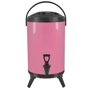 SOGA 14L Stainless Steel Insulated Milk Tea Barrel Hot and Cold Beverage Dispenser Container with Faucet Pink