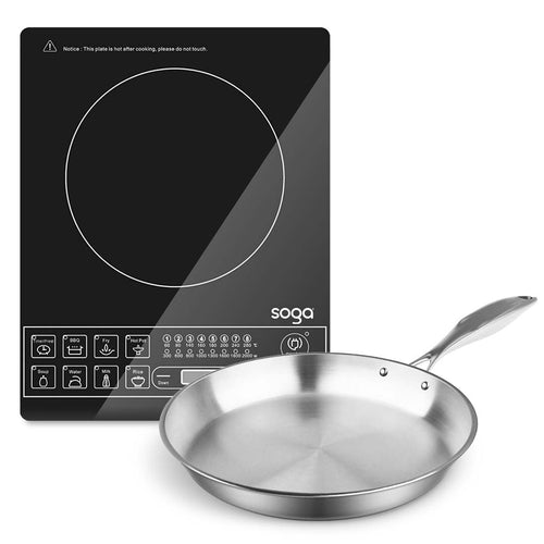 SOGA Electric Smart Induction Cooktop and 30cm Stainless Steel Fry Pan Cooking Frying Pan