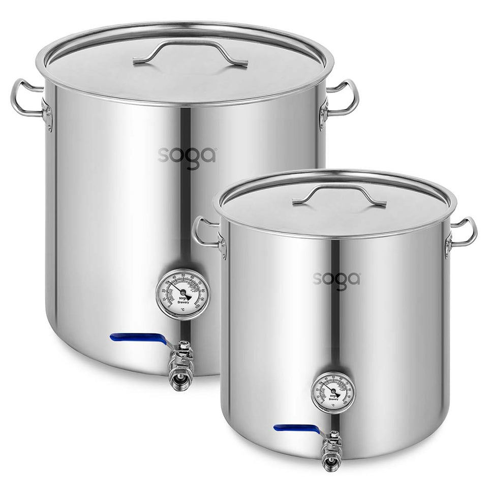 SOGA Stainless Steel Brewery Pot 33L 71L With Beer Valve 35CM 45CM