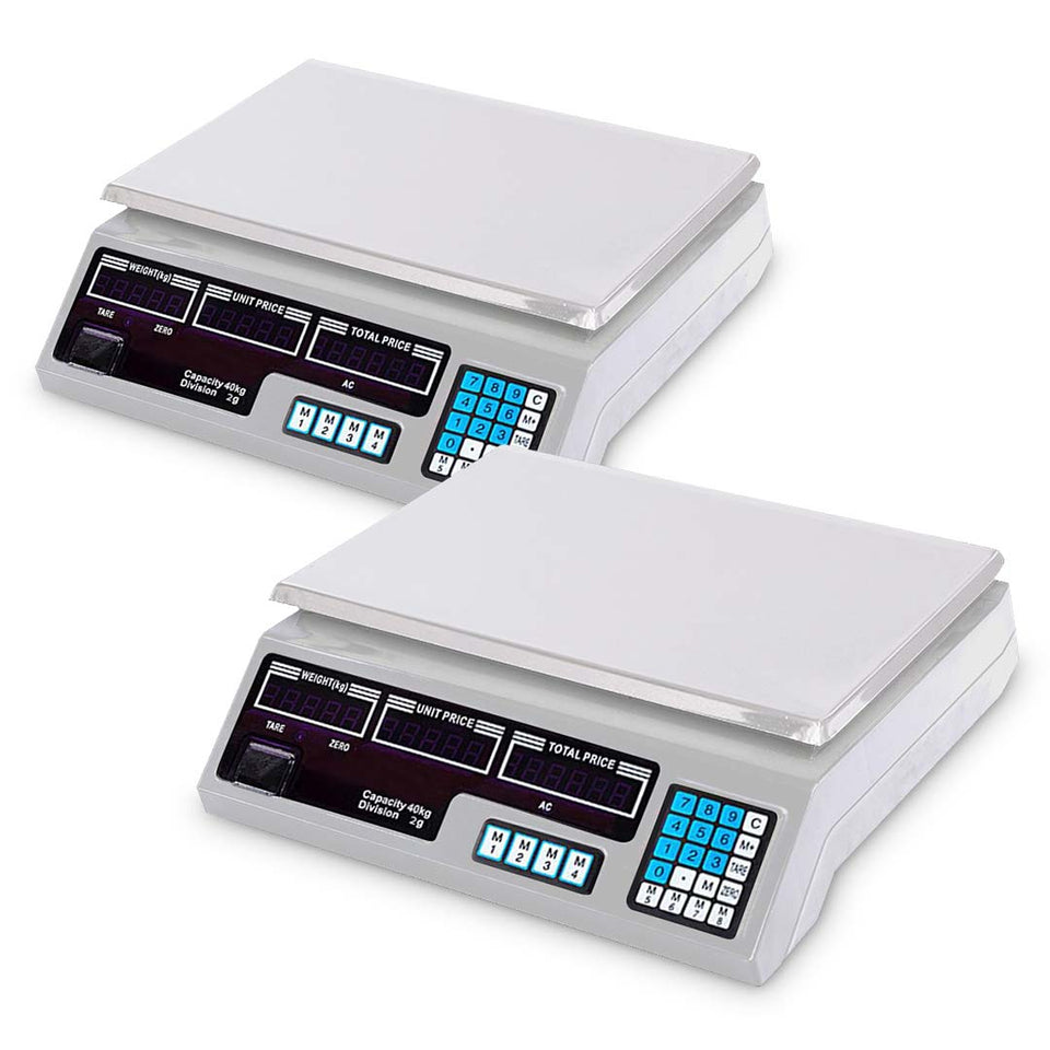 SOGA 2X 40kg Digital Commercial Kitchen Scales Shop Electronic Weight Scale Food White