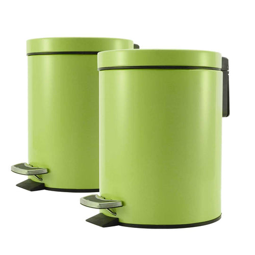 SOGA 2X Foot Pedal Stainless Steel Rubbish Recycling Garbage Waste Trash Bin Round 7L Green