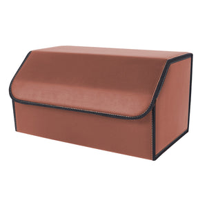SOGA Leather Car Boot Collapsible Foldable Trunk Cargo Organizer Portable Storage Box Coffee Large
