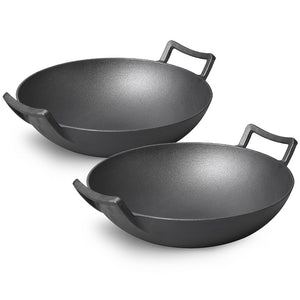 SOGA 2X 32cm Commercial Cast Iron Wok FryPan with Wooden Lid Fry Pan