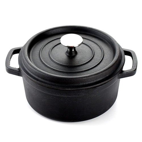 SOGA Cast Iron 24cm Stewpot Casserole Stew Cooking Pot With Lid 3.6L Black