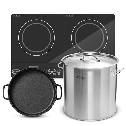 SOGA Dual Burners Cooktop Stove 30cm Cast Iron Skillet and 17L Stainless Steel Stockpot 28cm