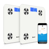 SOGA 2x 180KG Bluetooth Digital Personal Bathroom Weight Scales Body Fat Bone BMI Water White